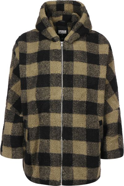 Hooded Oversized Check Sherpa